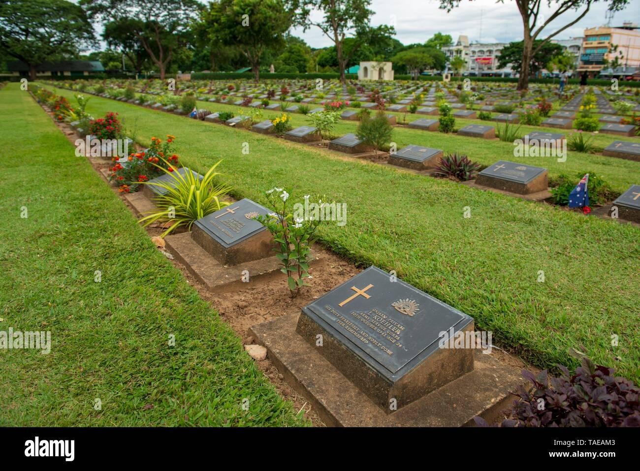 Kanchanaburi War Cemetery, Burma Siam Railway, Kanchanaburi Province, Thailand - Stock Image