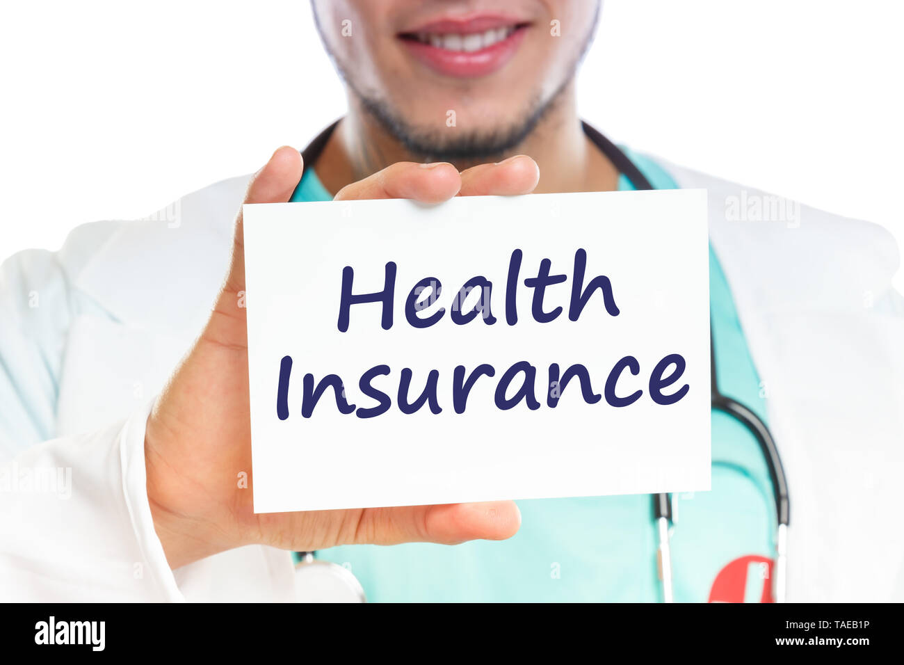 Doctor health insurance medical concept ill illness healthy with sign - Stock Image