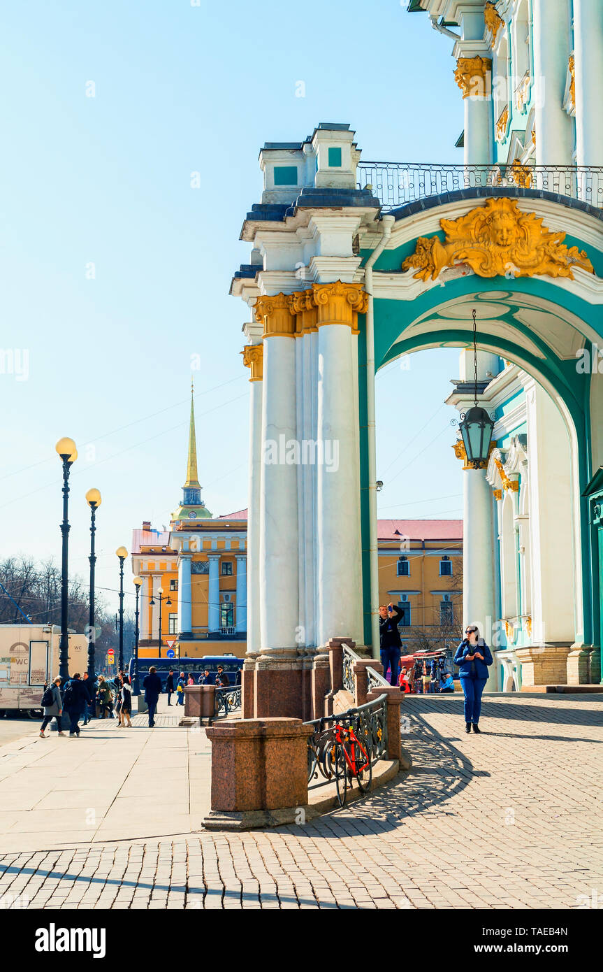 St Petersburg, Russia - April 5, 2019. Winter Palace and Admiralty building on the background. St Petersburg city center view - Stock Image