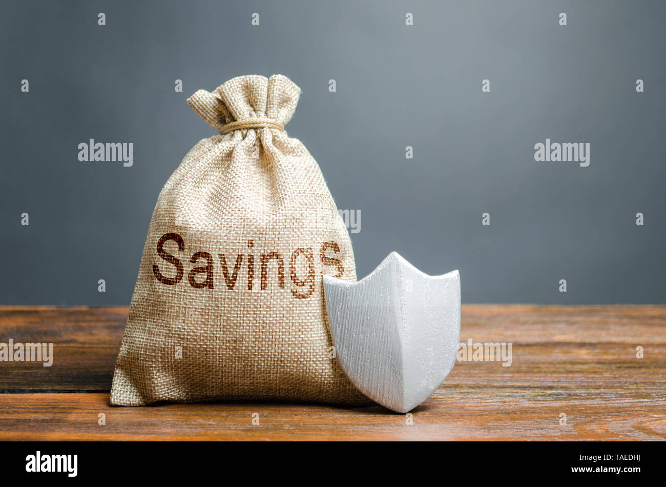 Bag with the words Savings and protection shield. Concept of protection of savings and cash, guaranteed deposits. Compensation for losses in inflation - Stock Image
