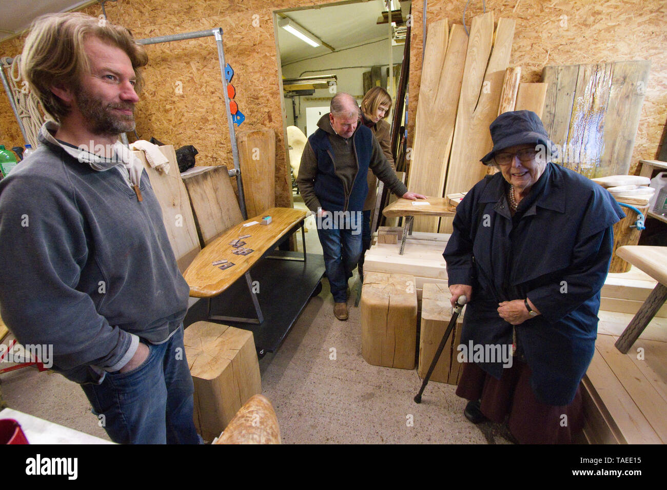 Open day at a carpenter's workshop - Stock Image