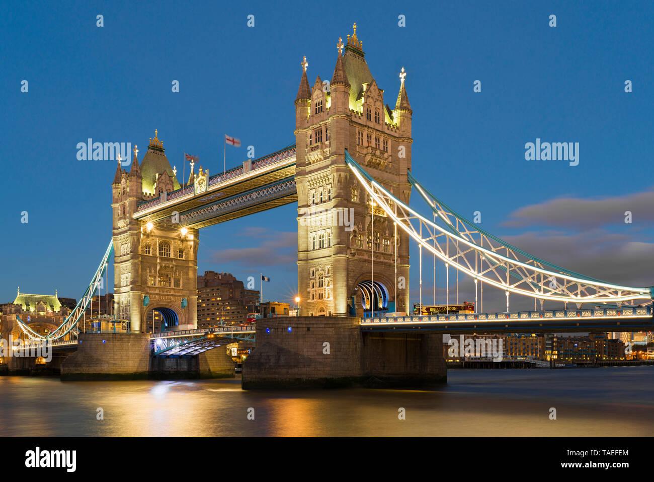UK, London, Tower Bridge at night Stock Photo