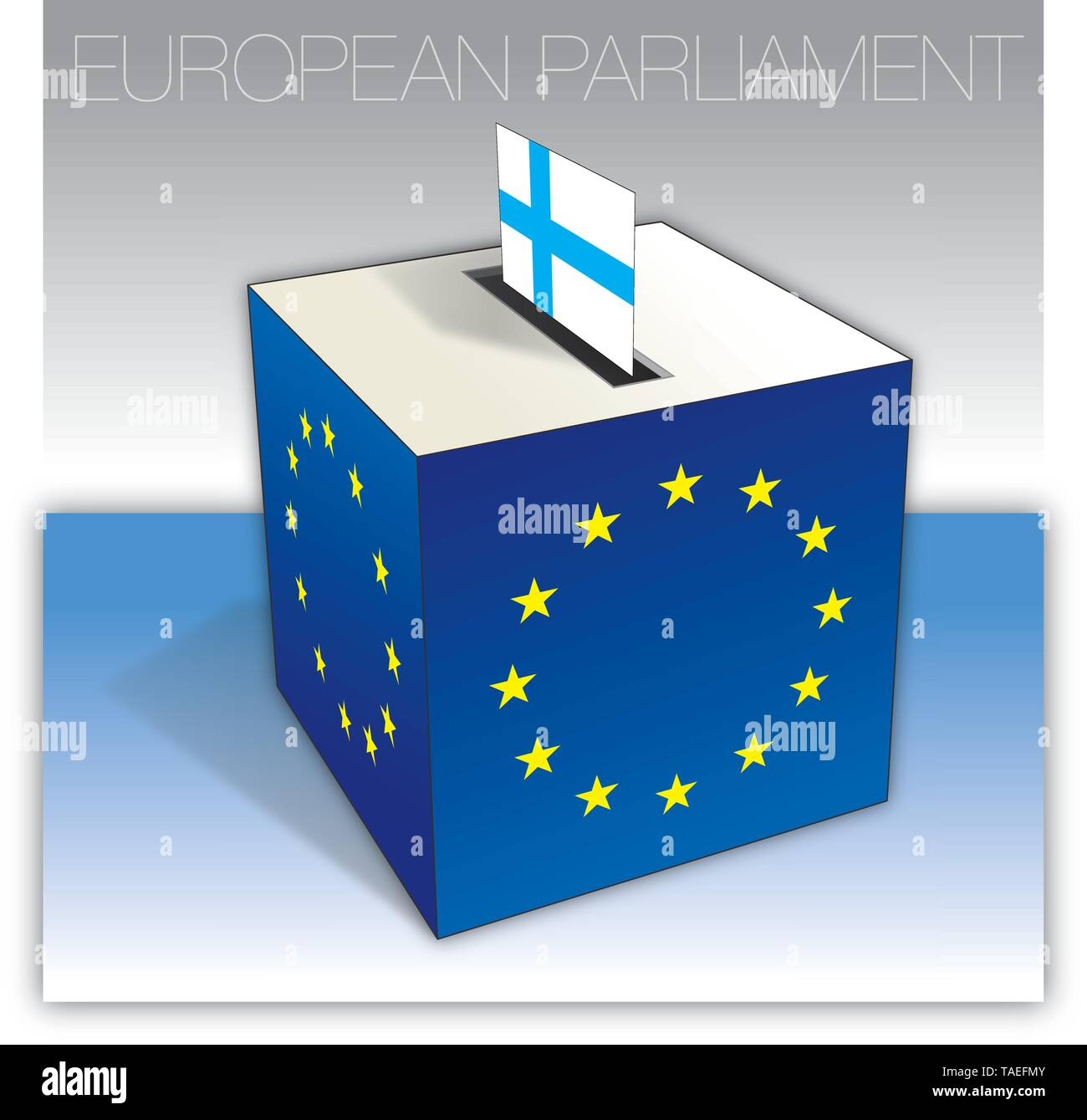 Finland voting box, European parliament elections, flag and national symbols, vector illustration - Stock Image