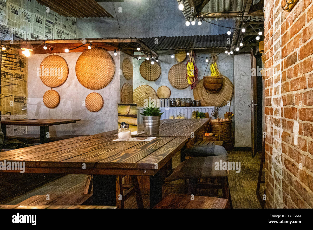 Fam Dang Vietnamese restaurant interior in Torstasse, Mitte-Berlin. Stock Photo