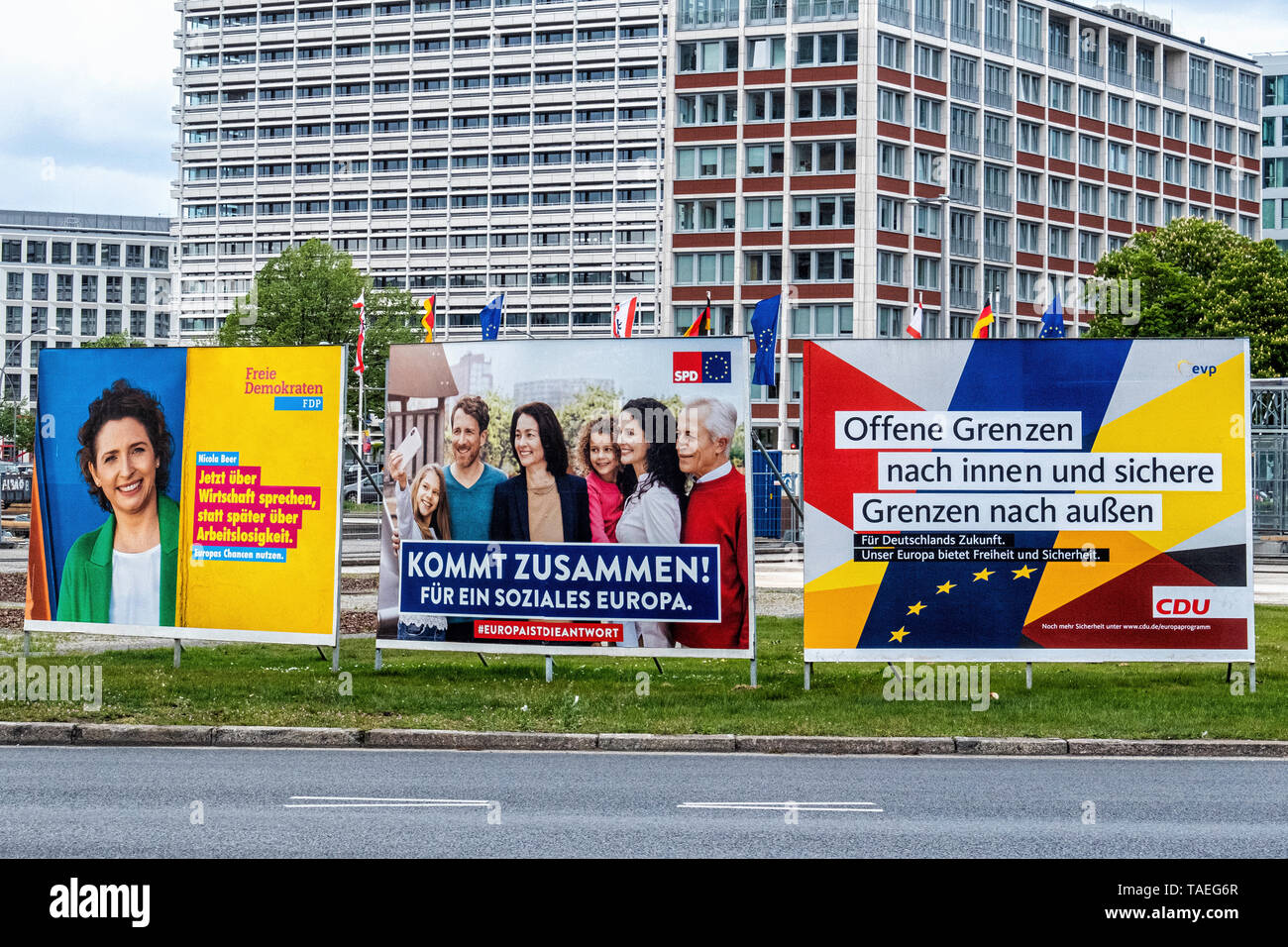 Flags & election posters at Ernst-Reuter-Platz. Charlottenburg, Berlin. The square is named after Ernst Reuter, mayor of West Berlin from 1948-1953 Stock Photo