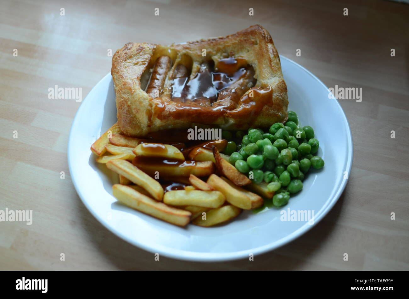 home cooked toad in the hole Stock Photo