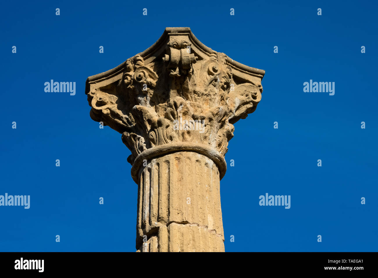 Tarragona, Spain. February 8, 2019. Colonial forum of Tarraco (Foro Colonial de Tarraco) an ancient Roman archaeological site located in the modern ci - Stock Image