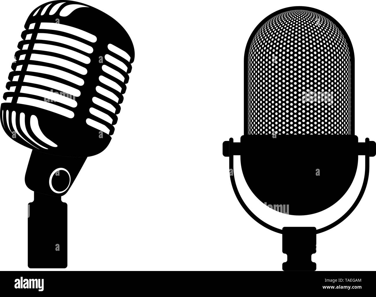 Two retro microphones sign. Silhouette microphone. Music icon, mic. Flat design vector illustration Stock Vector