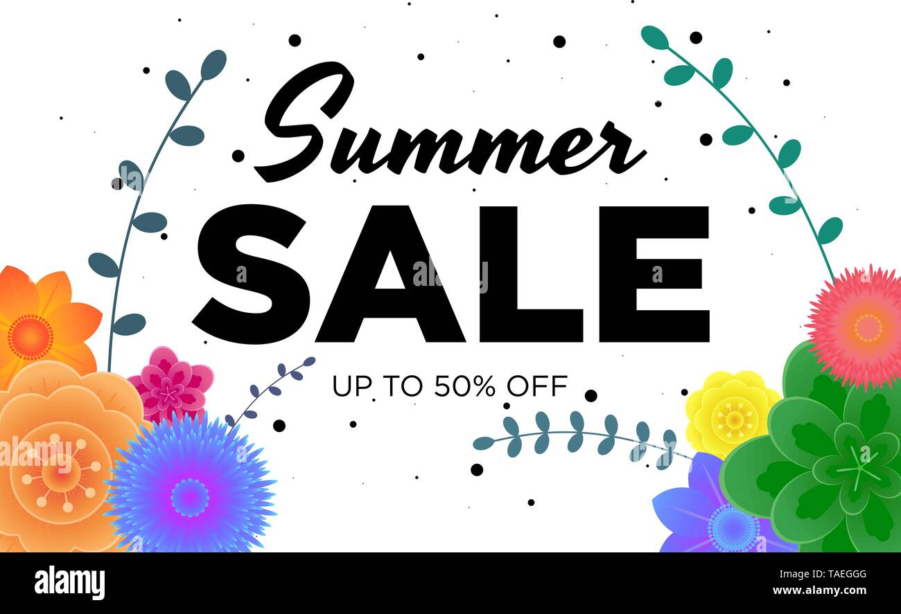 Summer sale offer promotion banner with beautiful flowers and grass on white background. Poster for promotions, magazines, advertising, web sites - Stock Image