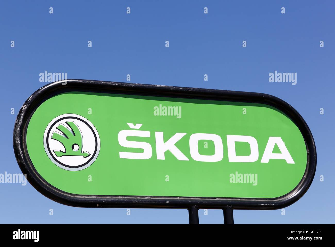 Villars, France - July 16, 2016: Skoda logo on a panel. Skoda, is a Czech automobile manufacturer founded in 1895 as Laurin and Klement - Stock Image
