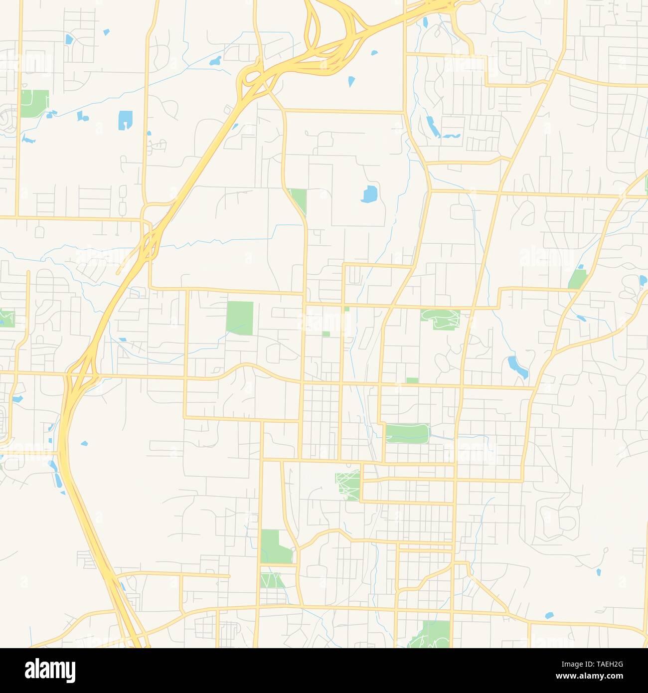 Empty vector map of Fayetteville, Arkansas, USA, printable ...