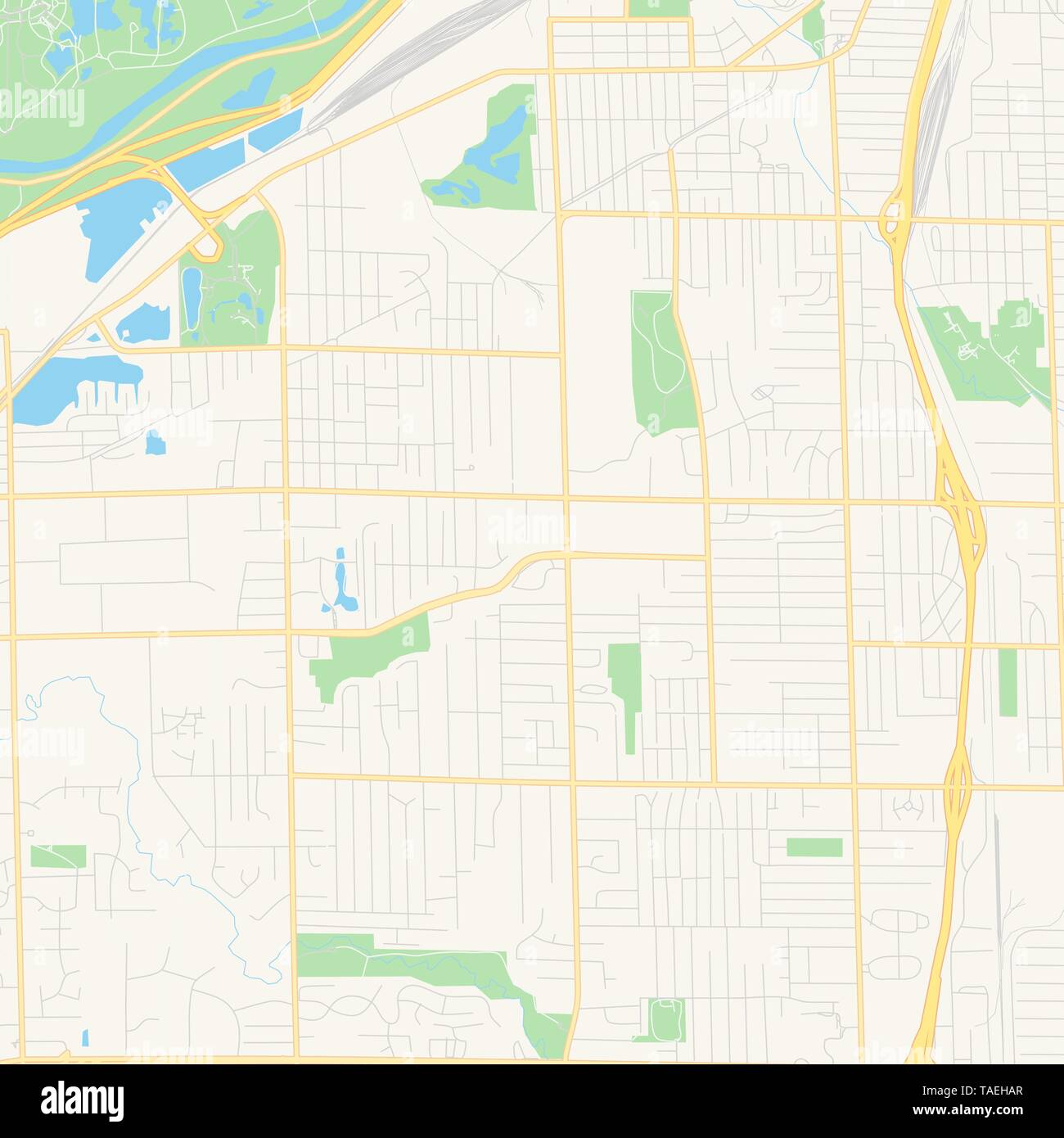 Empty vector map of Wyoming, Michigan, USA, printable road ...