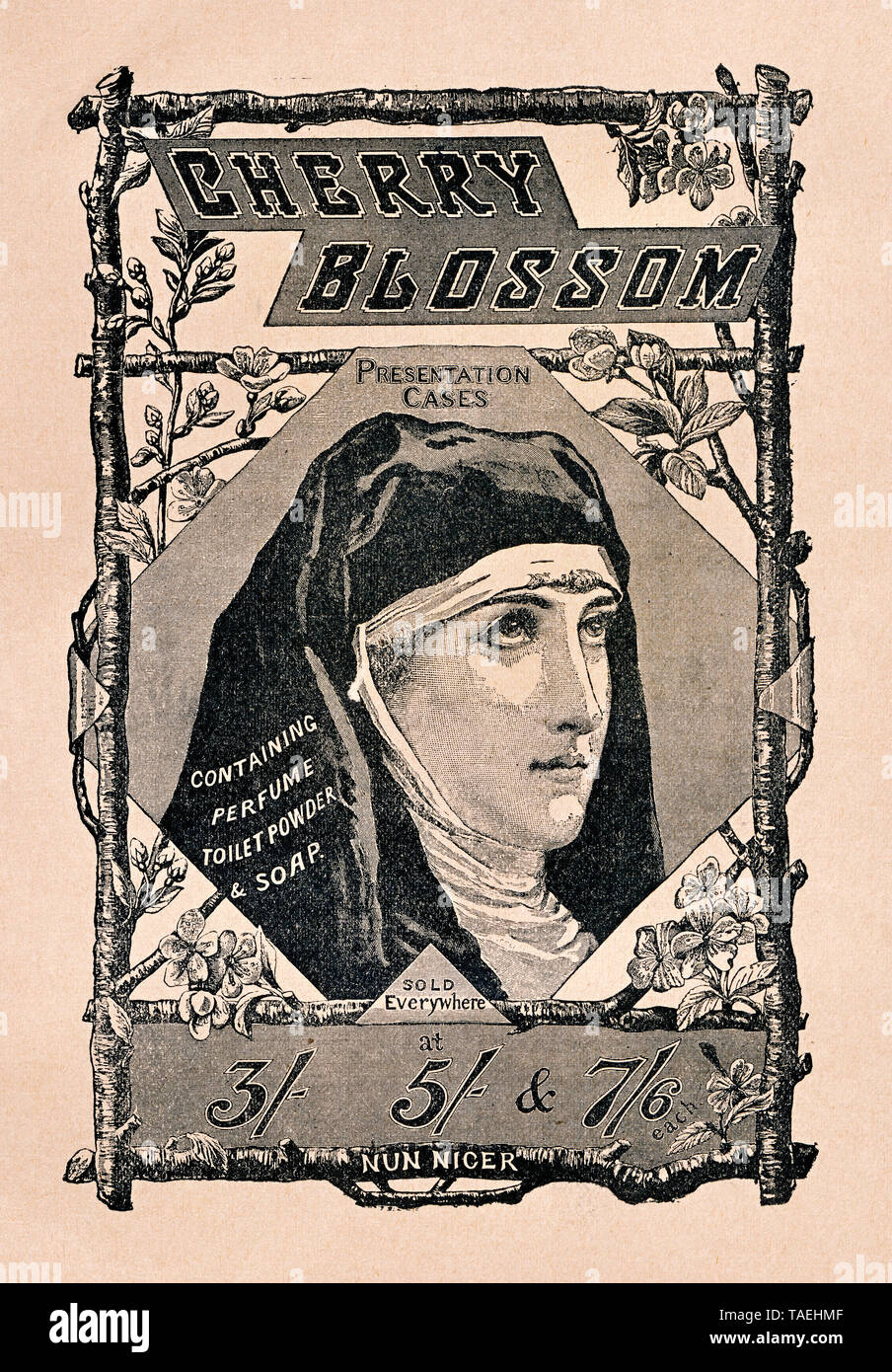 Eine Nonne wirbt für Seife, Parfüm und Toilet Powder, Englische Anzeigenwerbung aus 'The Idler, Merritt & Hatcher, London' von 1893 für 'Cherry Blossom Perfume Soap toilet powder, NUN NICER', Großbritannien, Europa - Stock Image