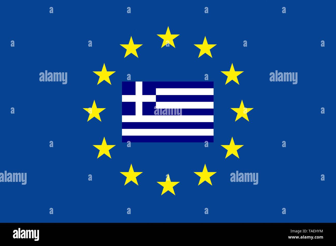 EU-Zeichen mit der Flagge von Griechenland, die Sterne schützen das Land, Symbolfoto für Europa - Stock Image