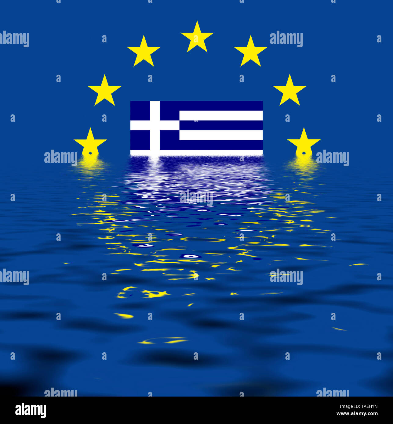 EU-Zeichen mit der Flagge von Griechenland, die Sterne schützen symbolisch das Land Griechenland, Symbolfoto für Europa, alles versinkt im Wasser - Stock Image