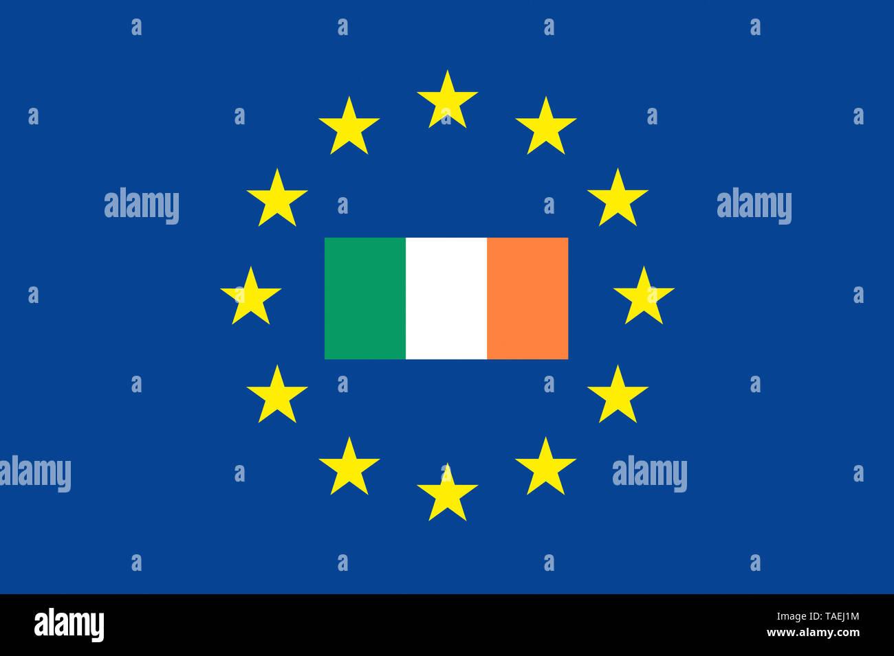 EU-Zeichen mit der Flagge von Irland, die Sterne schützen das Land, Symbolfoto für Europa - Stock Image