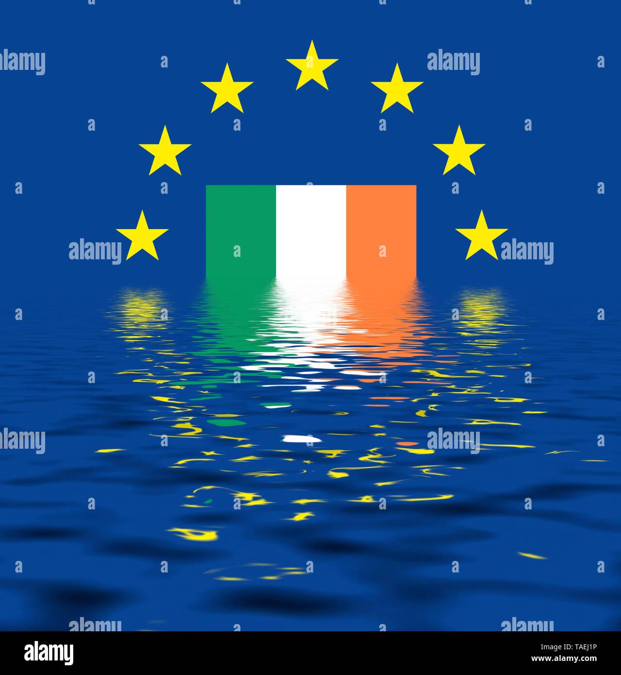 EU-Zeichen mit der Flagge von Irland, die Sterne schützen symbolisch das Land Irland, Symbolfoto für Europa, alles versinkt im Wasser - Stock Image