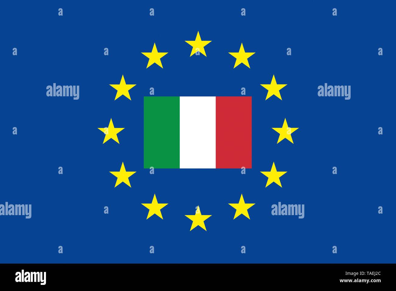 EU-Zeichen mit der Flagge von Italien, die Sterne schützen das Land, Symbolfoto für Europa - Stock Image