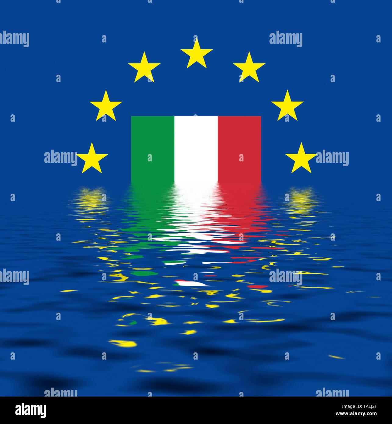 EU-Zeichen mit der Flagge von Italien, die Sterne schützen symbolisch das Land Italien, Symbolfoto für Europa, alles versinkt im Wasser - Stock Image