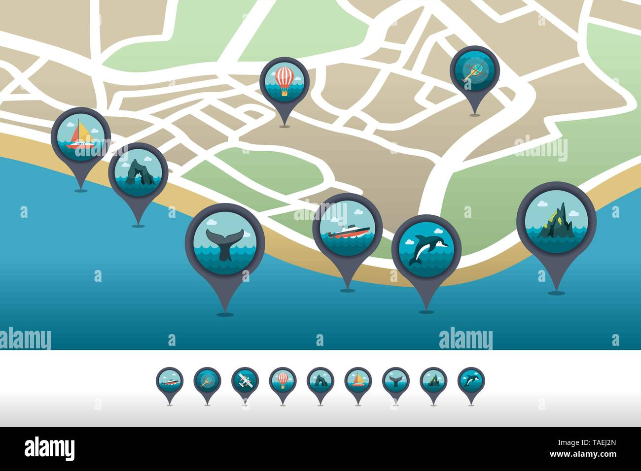 Excursion sea vector pin map icon located on the map. Summer time Map pointer. Map markers. Vacation, eps 10 - Stock Image