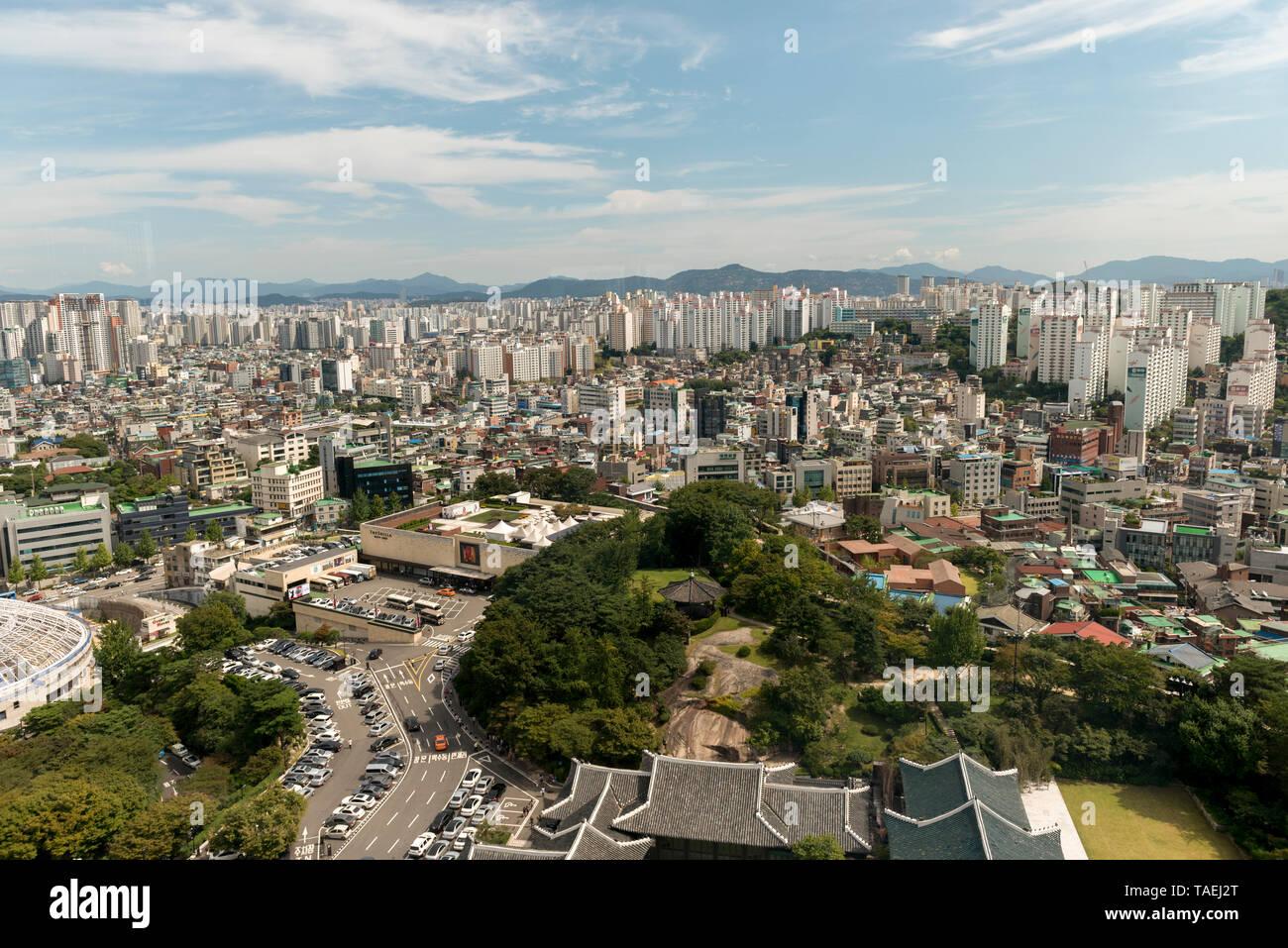 City view from Shilla Hotel, Seoul, South Korea Stock Photo