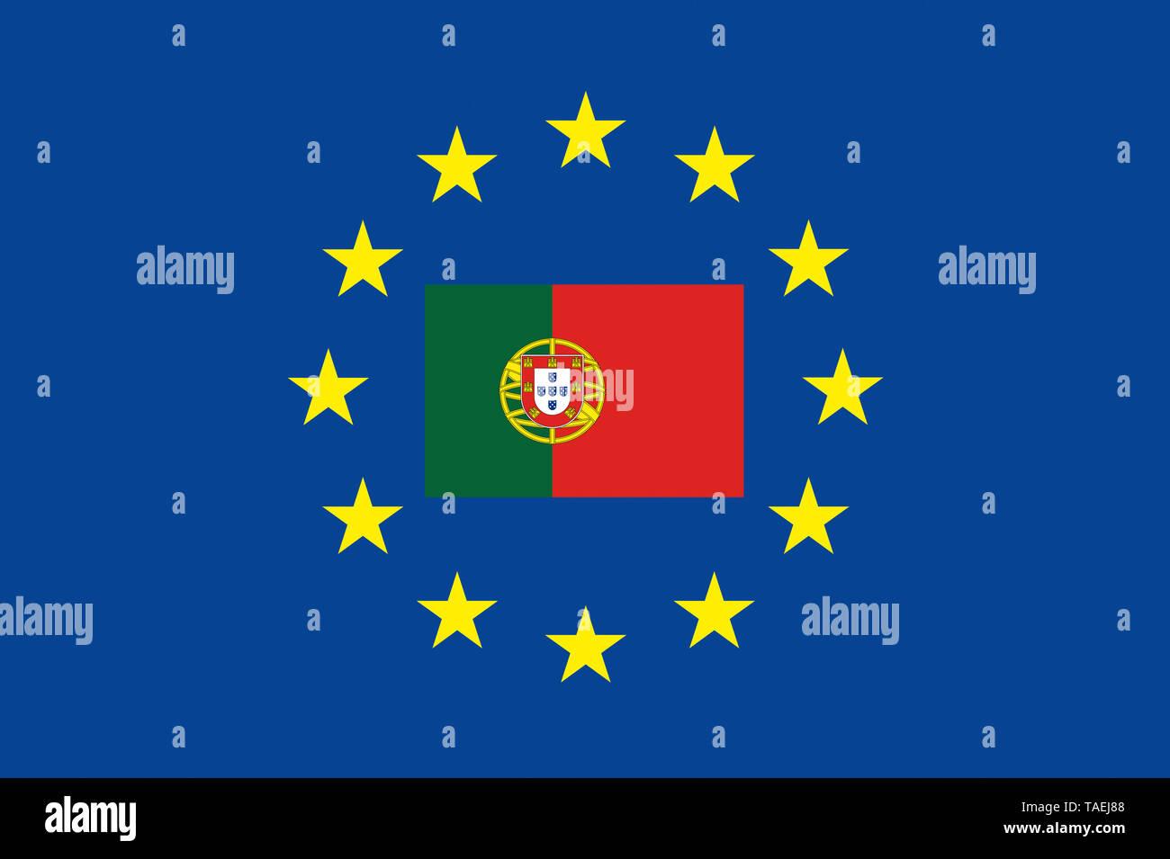 EU-Zeichen mit der Flagge von Portugal, die Sterne schützen symbolisch das Land Potugal, Symbolfoto für Europa - Stock Image