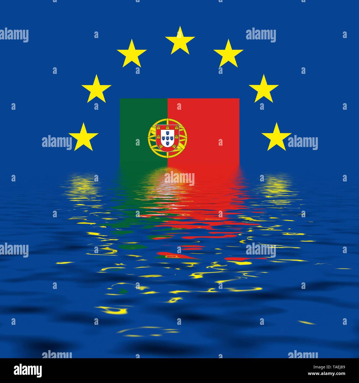 EU-Zeichen mit der Flagge von Portugal, die Sterne schützen symbolisch das Land Potugal, Symbolfoto für Europa, alles versinkt im Wasser - Stock Image