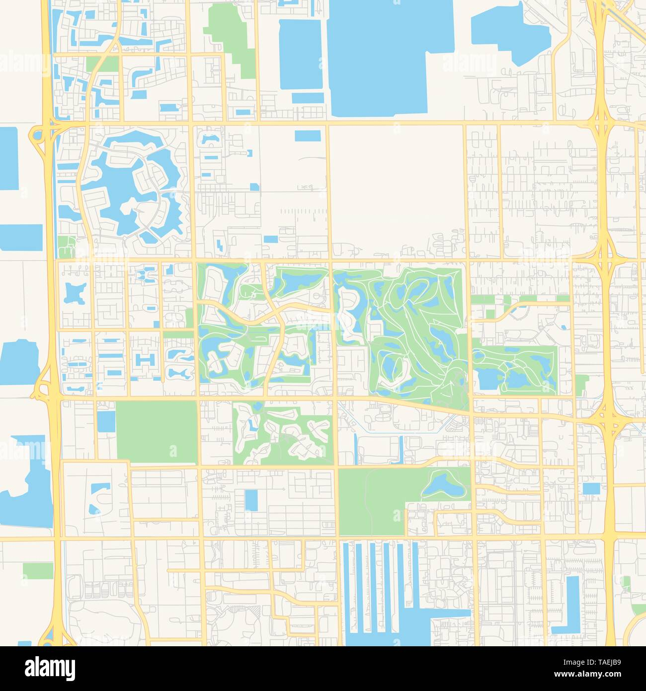 Empty vector map of Doral, Florida, USA, printable road map created ...