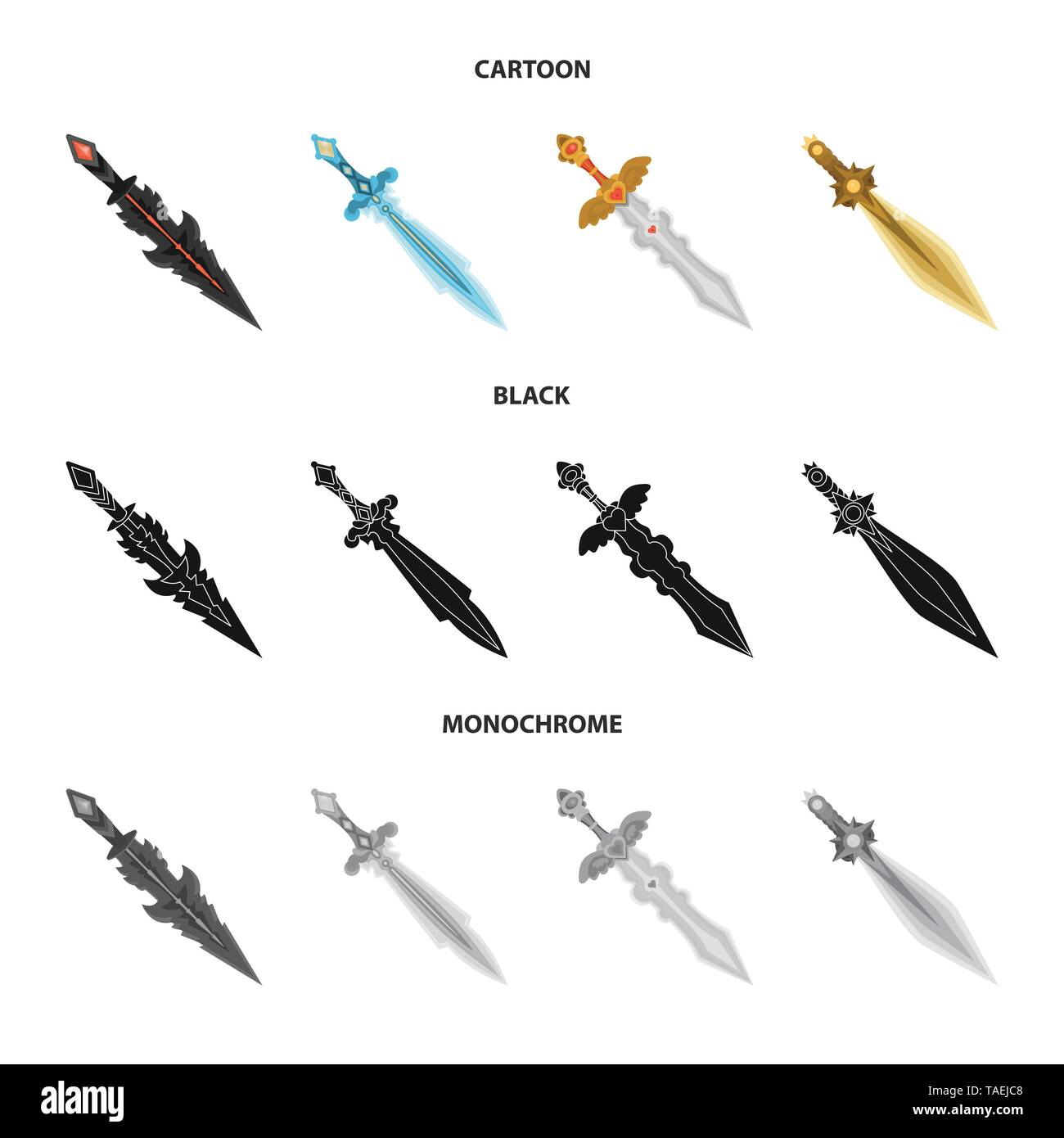 Vector illustration of game  and armor  sign. Set of game  and blade  stock vector illustration. - Stock Image