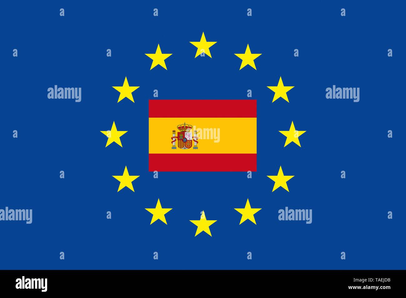 EU-Zeichen mit der Flagge von Spanien, die Sterne schützen symbolisch das Land Spanien, Symbolfoto für Europa - Stock Image