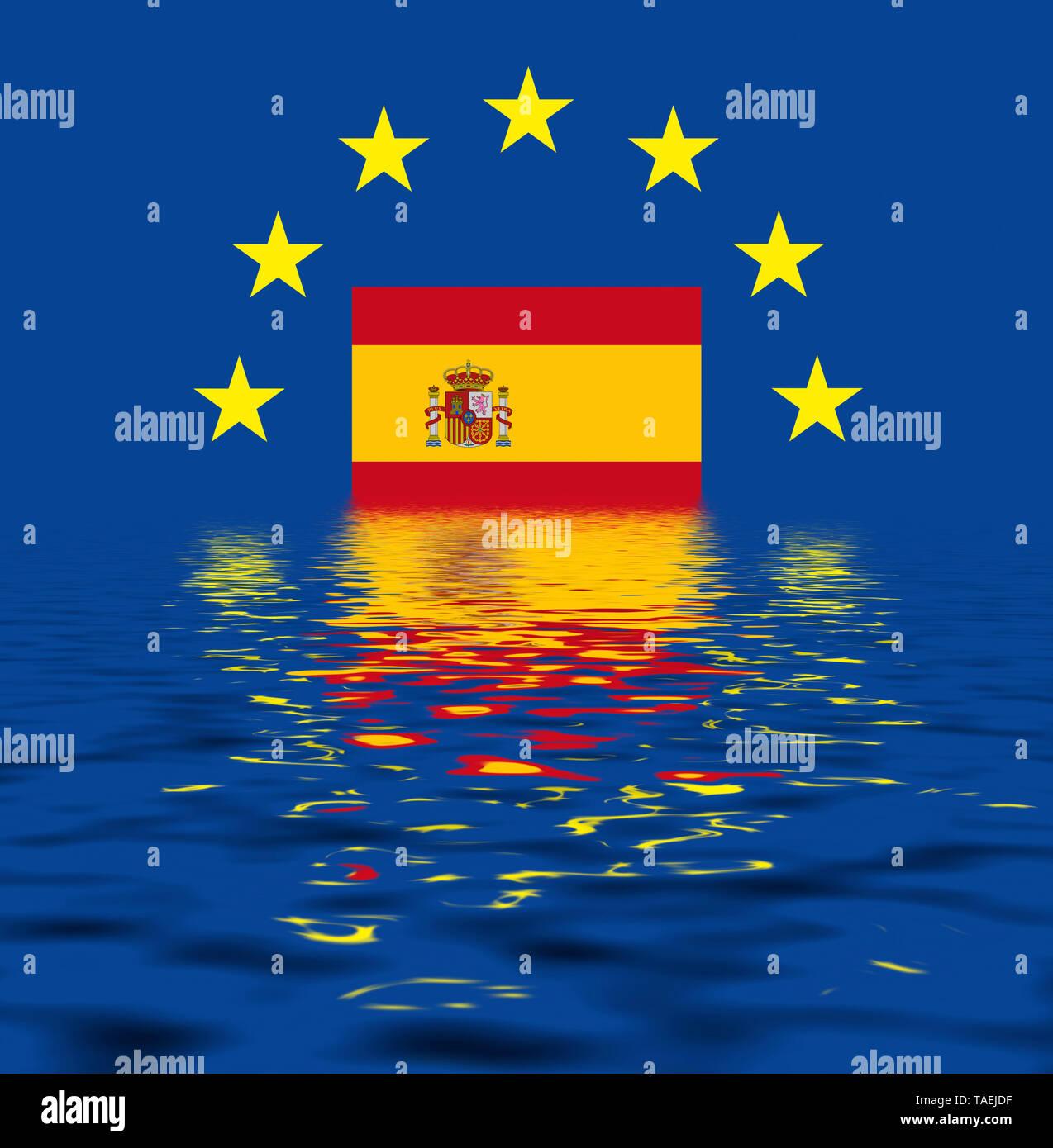EU-Zeichen mit der Flagge von Spanien, die Sterne schützen symbolisch das Land Spanien, Symbolfoto für Europa, alles versinkt im Wasser - Stock Image