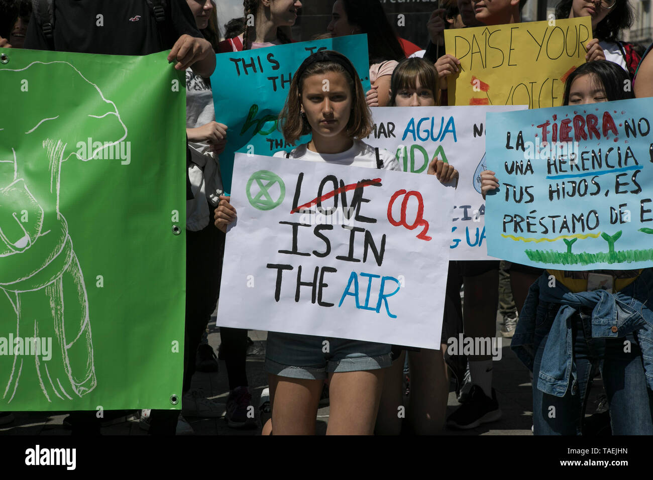 Students are seen holding placards during the protest. Fridays for Future movement organized a protest worldwide against climate change. Stock Photo