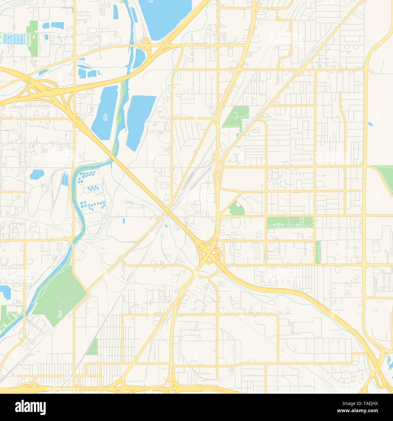 photograph about Printable Map of Colorado identified as Vacant vector map of Commerce Metropolis, Colorado, United states, printable