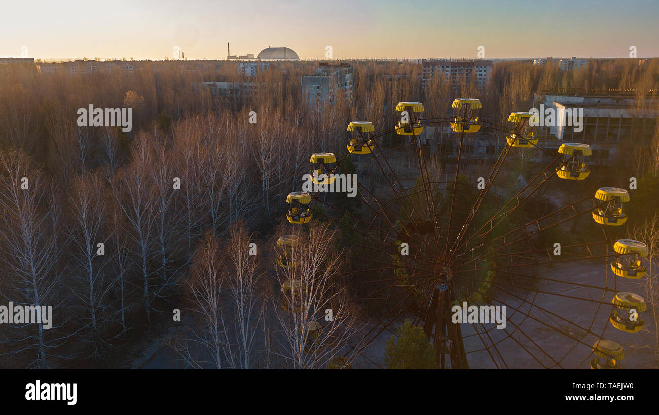 Drone image taken over the amusement park at Pripyat, Ukraine, inside the Chernobyl Exclusion Zone Stock Photo