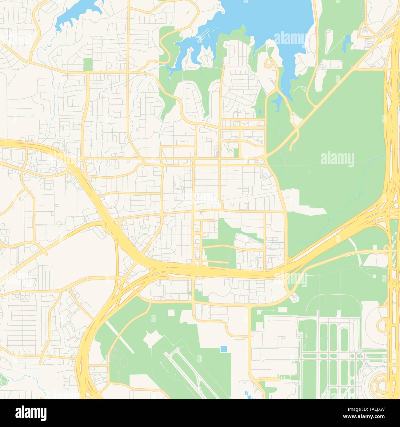 Empty vector map of Grapevine, Texas, United States of America ...