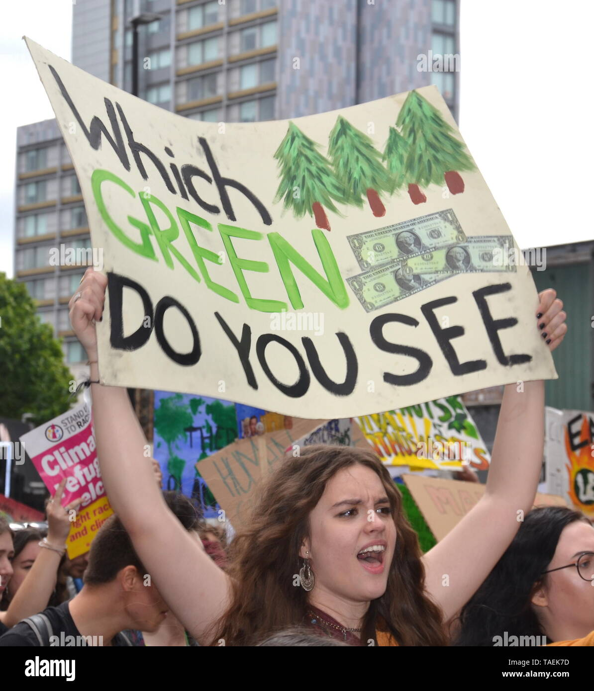 Young people lobby for action to prevent climate change at the  Manchester Youth Strike 4 Climate protest on 24th May, 2019, in Manchester, uk Stock Photo