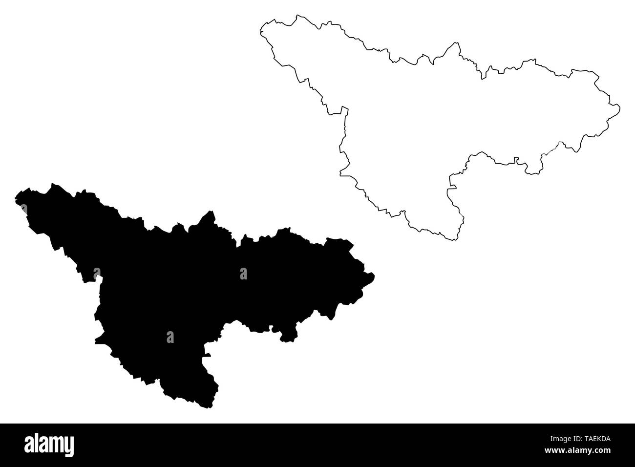 Timis County (Administrative divisions of Romania, Vest development region) map vector illustration, scribble sketch Timis map - Stock Image