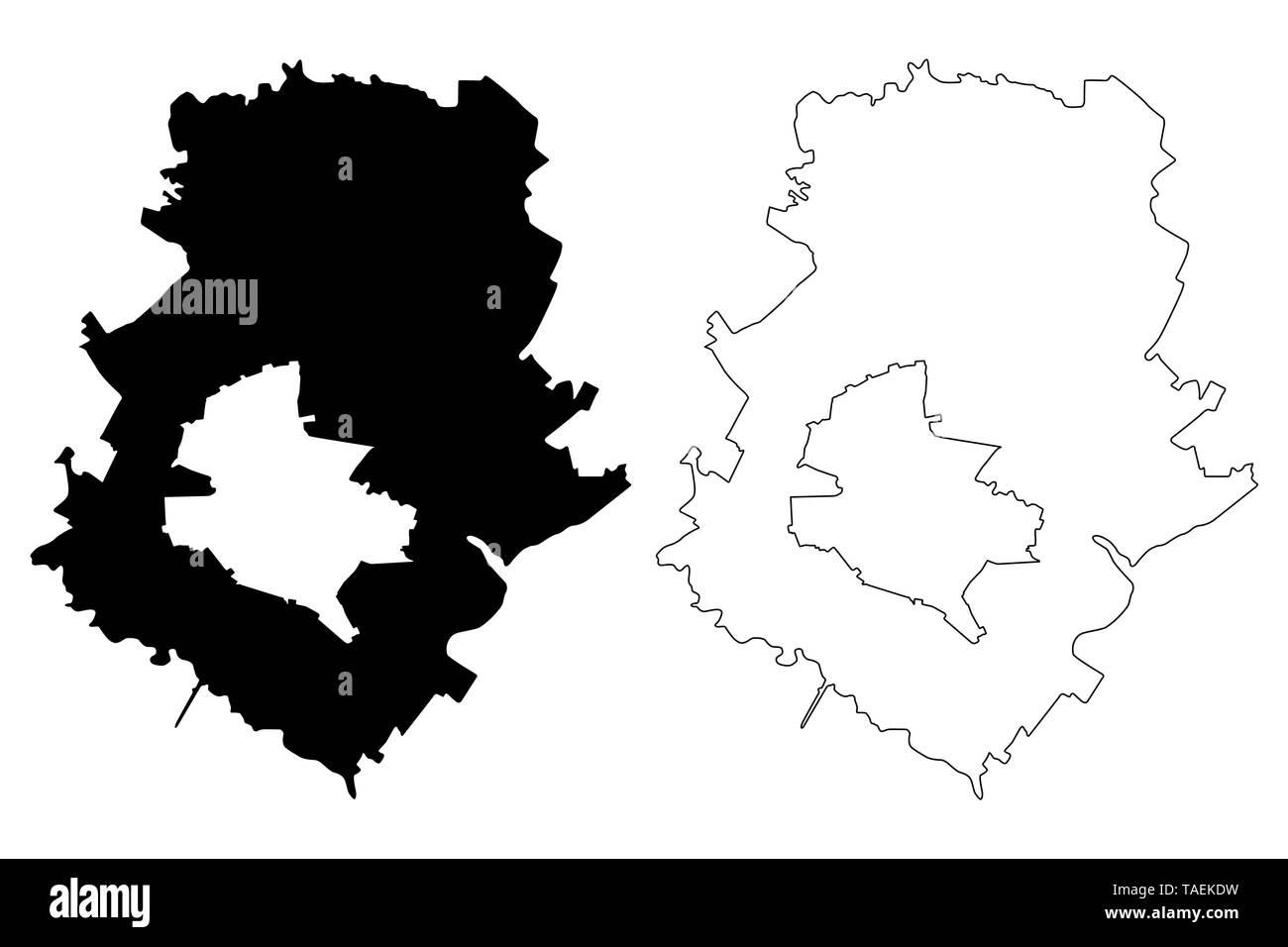 Ilfov County (Administrative divisions of Romania, Bucuresti - Ilfov development region) map vector illustration, scribble sketch Ilfov map - Stock Image
