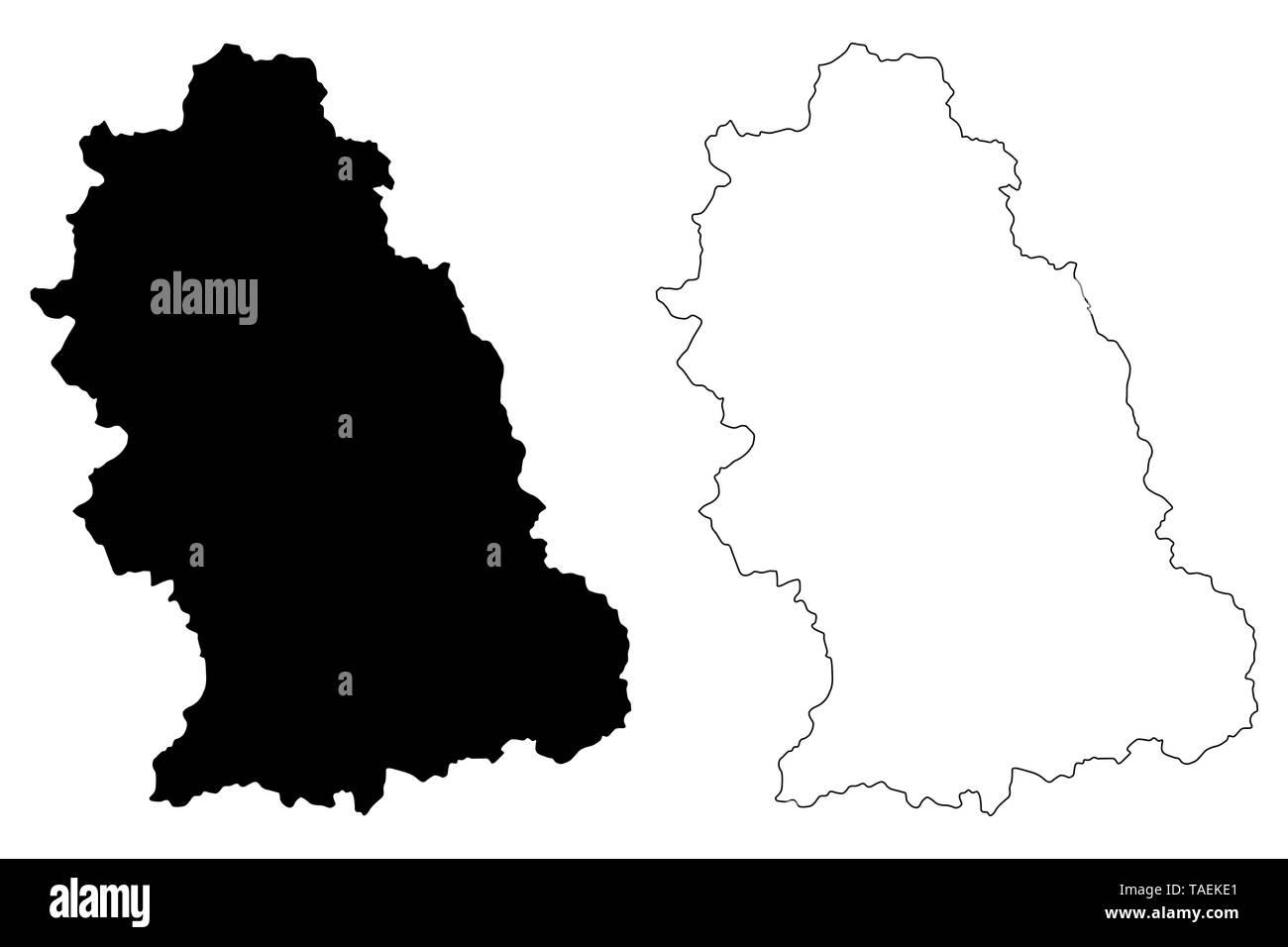 Hunedoara County (Administrative divisions of Romania, Vest development region) map vector illustration, scribble sketch Hunedoara map - Stock Image