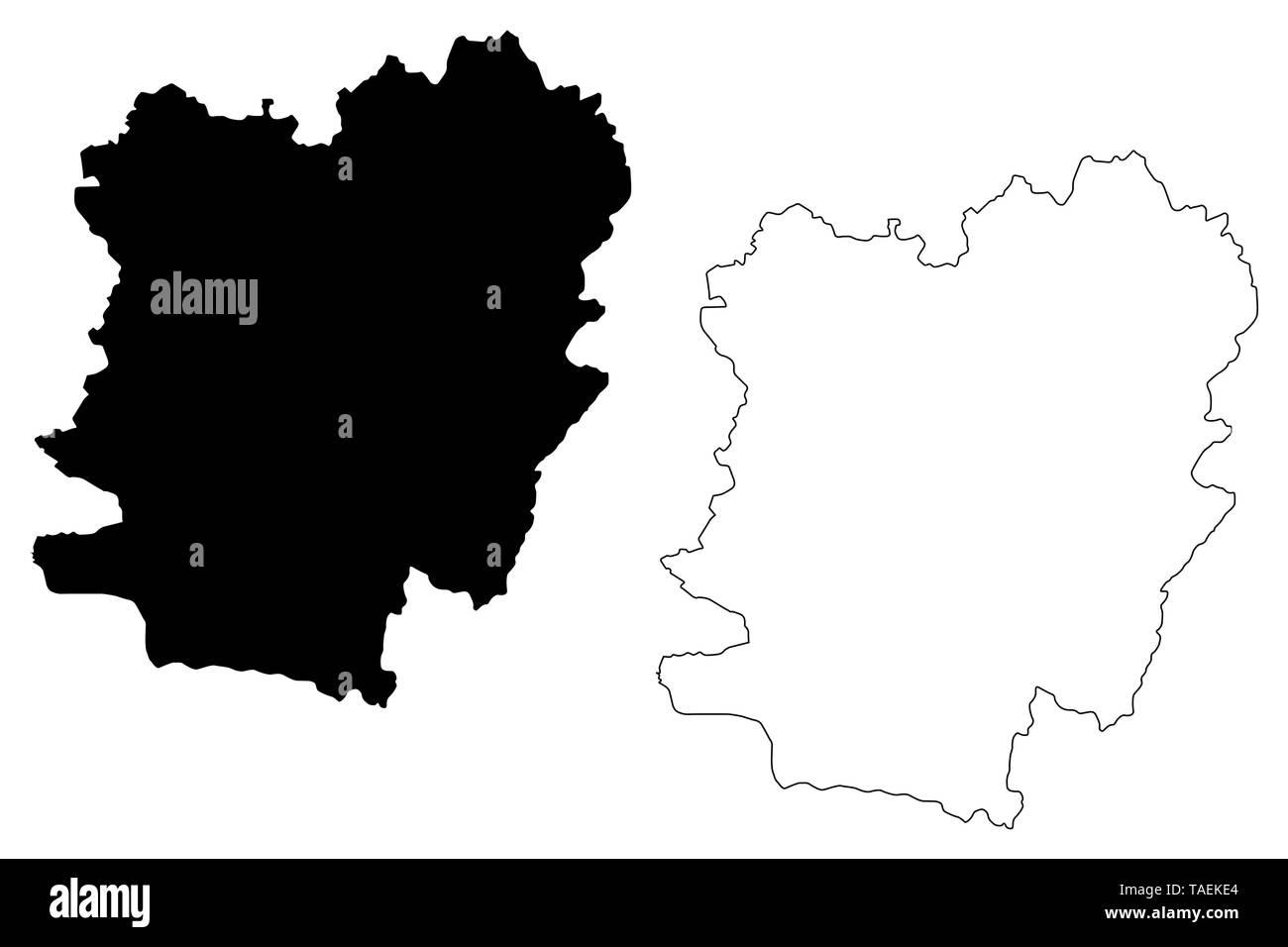 Caras-Severin County (Administrative divisions of Romania, Vest development region) map vector illustration, scribble sketch Caras-Severin map - Stock Image