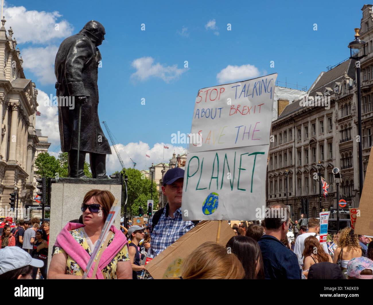 Student and youth climate activists with placards demonstrate in central London on May 24, 2019 as they demand action to tackle climate change. - Stock Image