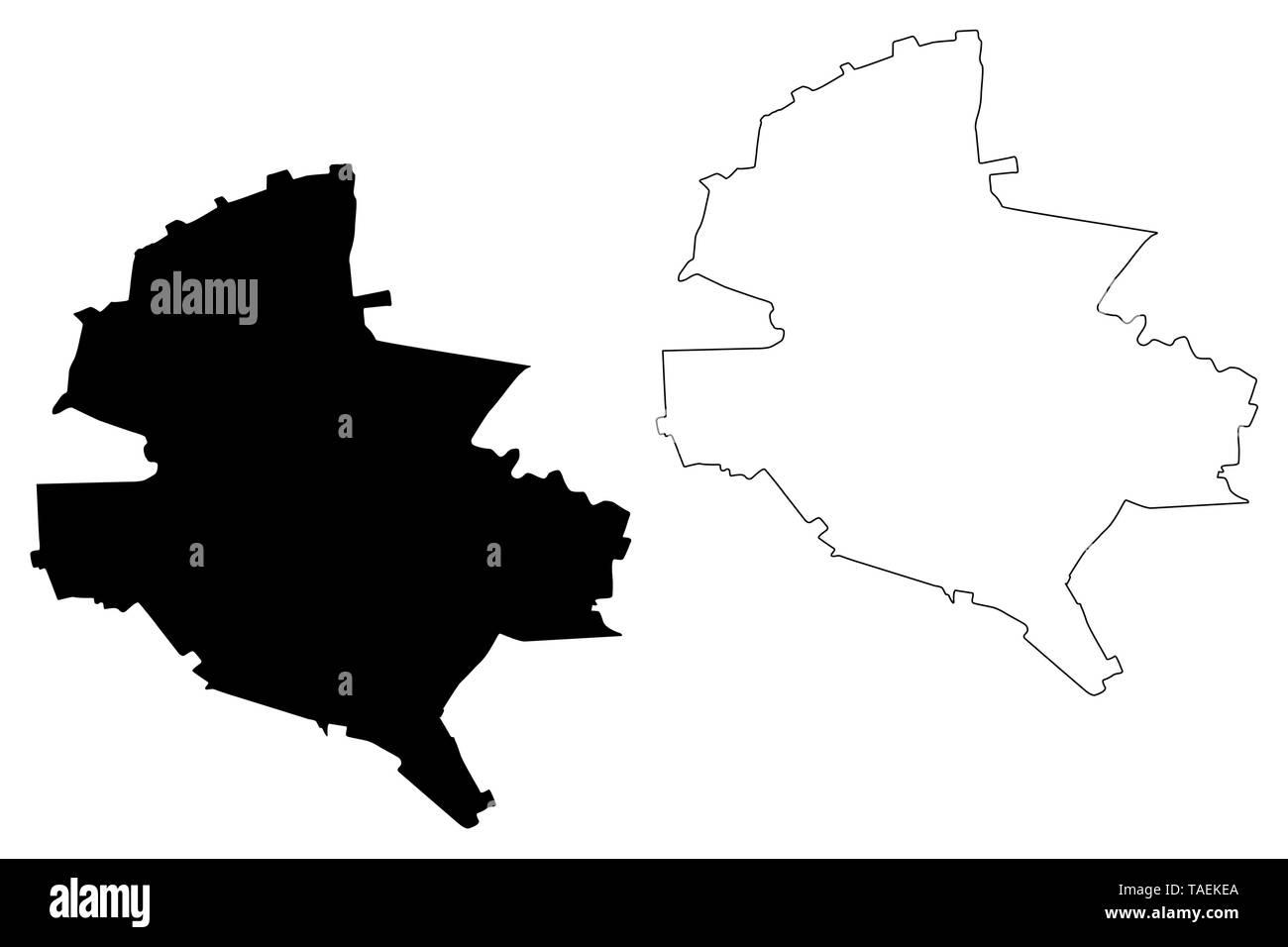 Bucharest County (Administrative divisions of Romania, Bucuresti - Ilfov development region) map vector illustration, scribble sketch Bucharest map - Stock Image