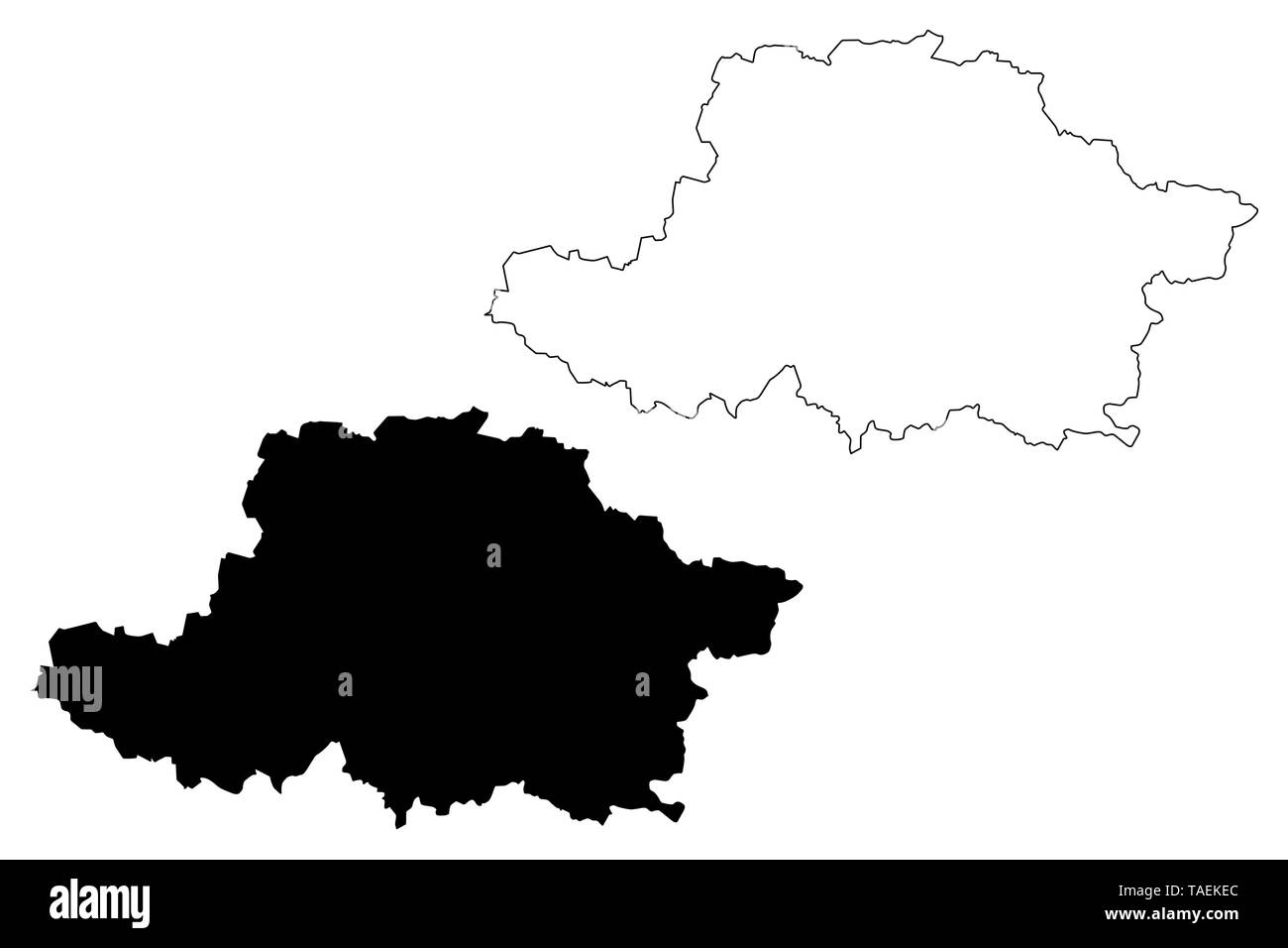Arad County (Administrative divisions of Romania, Vest development region) map vector illustration, scribble sketch Arad map - Stock Image