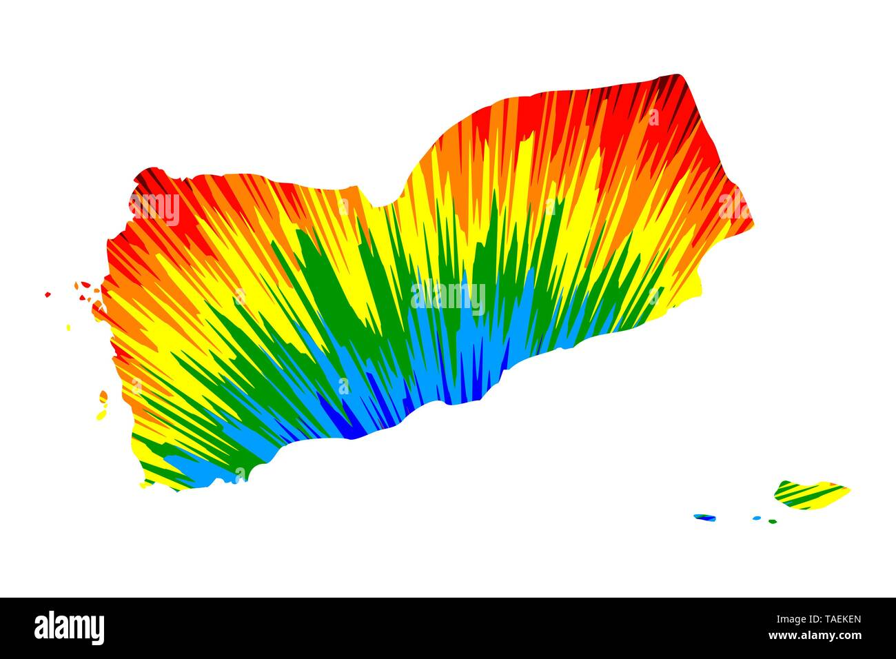 Yemen - map is designed rainbow abstract colorful pattern, Republic of Yemen map made of color explosion, - Stock Image