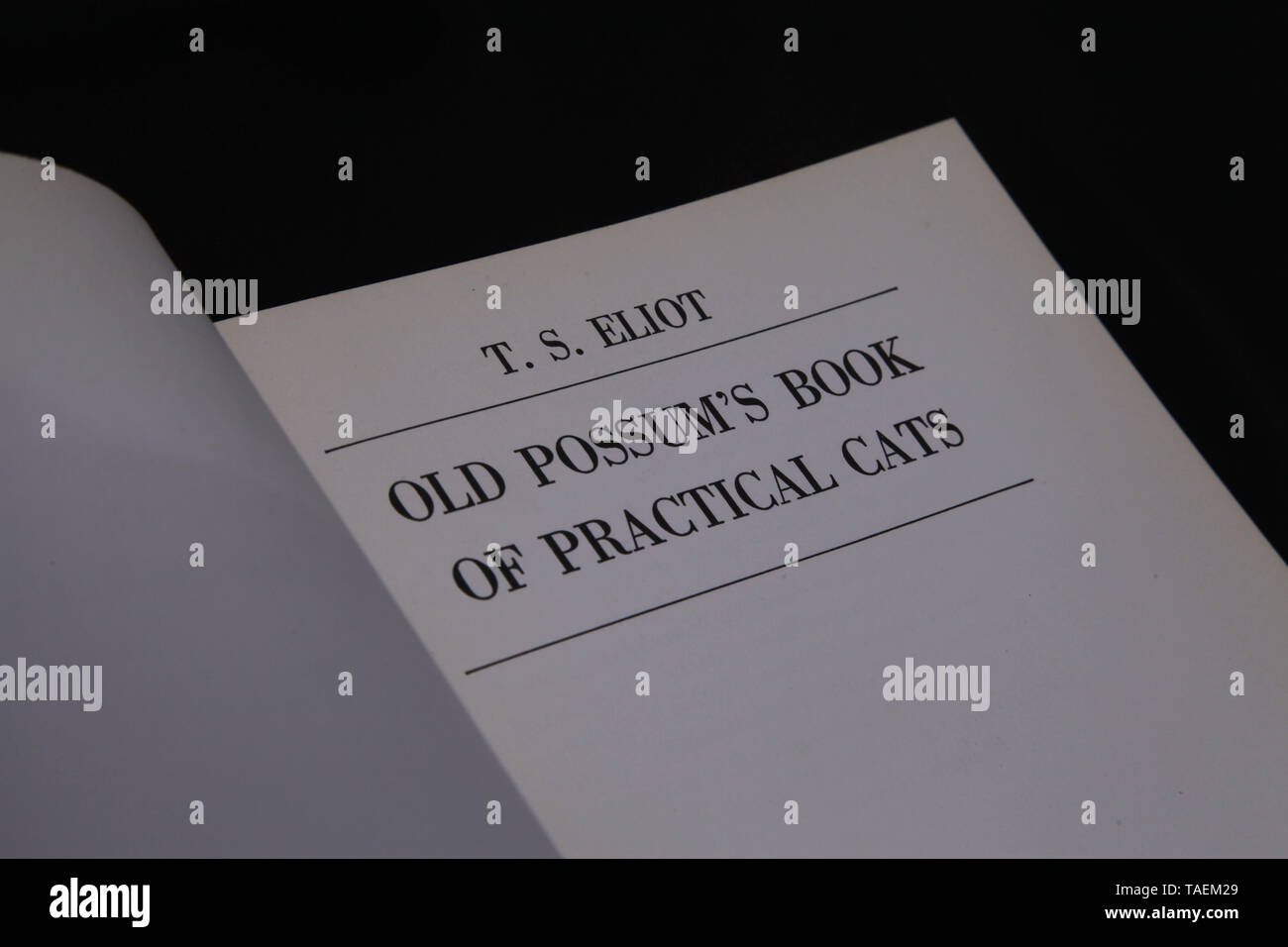 T.S. Eliot - Old Possum's Book of Practical Cats - Stock Image