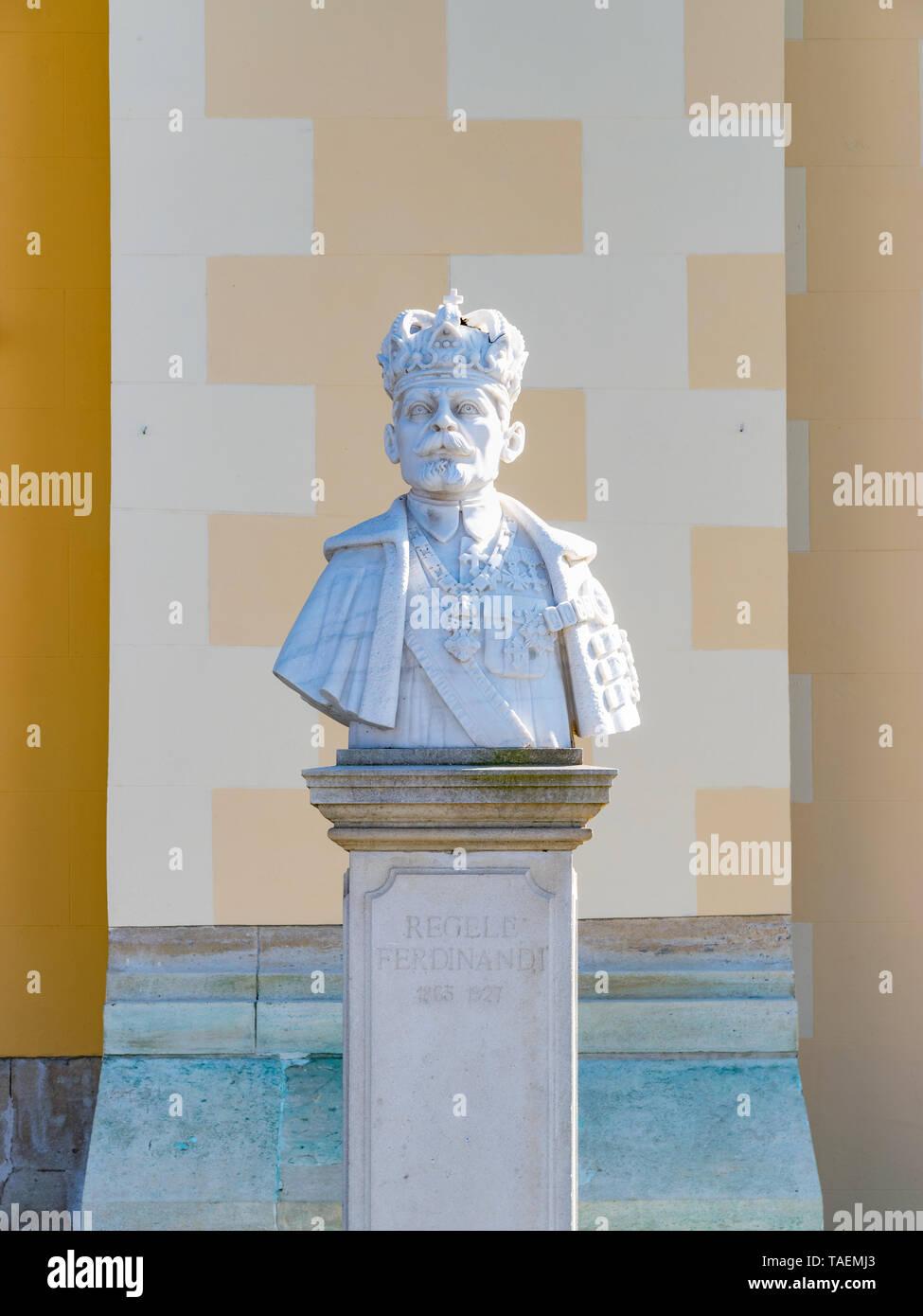 ALBA IULIA, ROMANIA - February 28, 2019: Statue of the Ferdinand I of Romania in Alba Iulia, Romania. Stock Photo