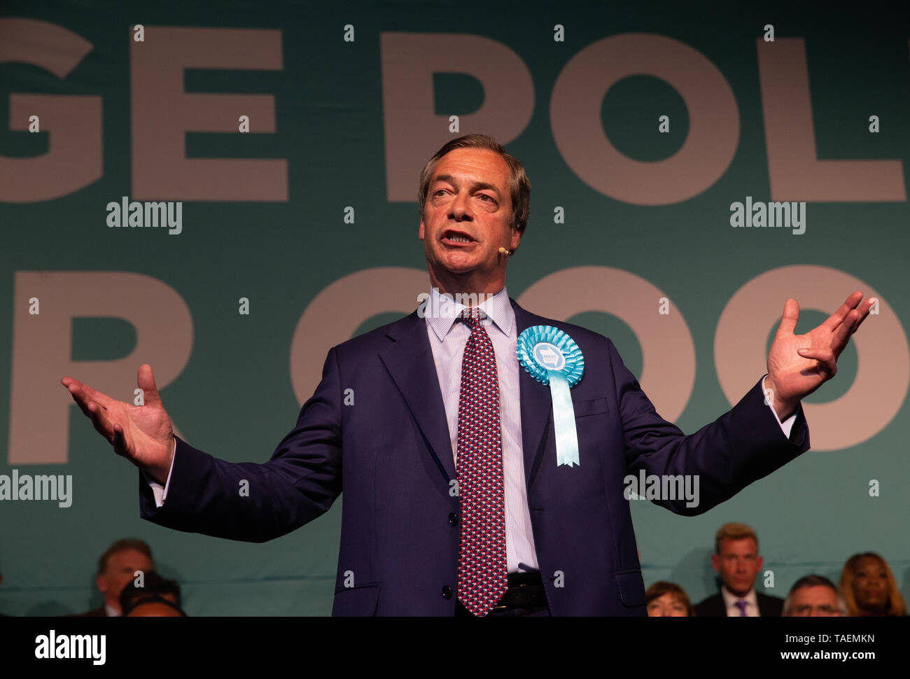 Brexit Party leader, Nigel Farage, speaks at a rally of 3,000 people in Kensington Olympia ahead of the European Elections on May 23rd. Stock Photo