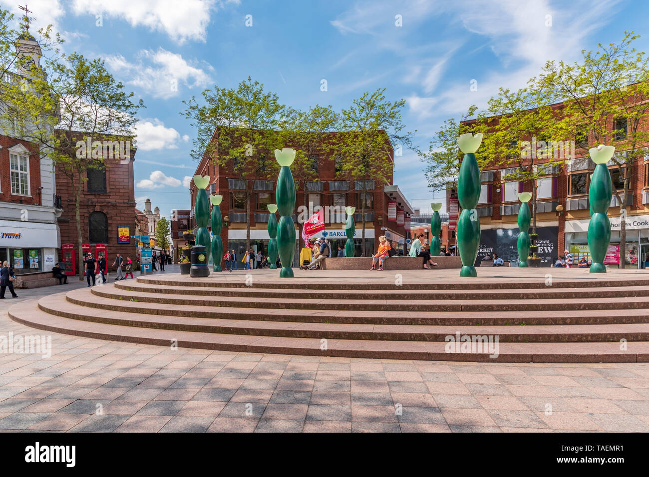Warrington town centre. Skittles and fountain. Stock Photo