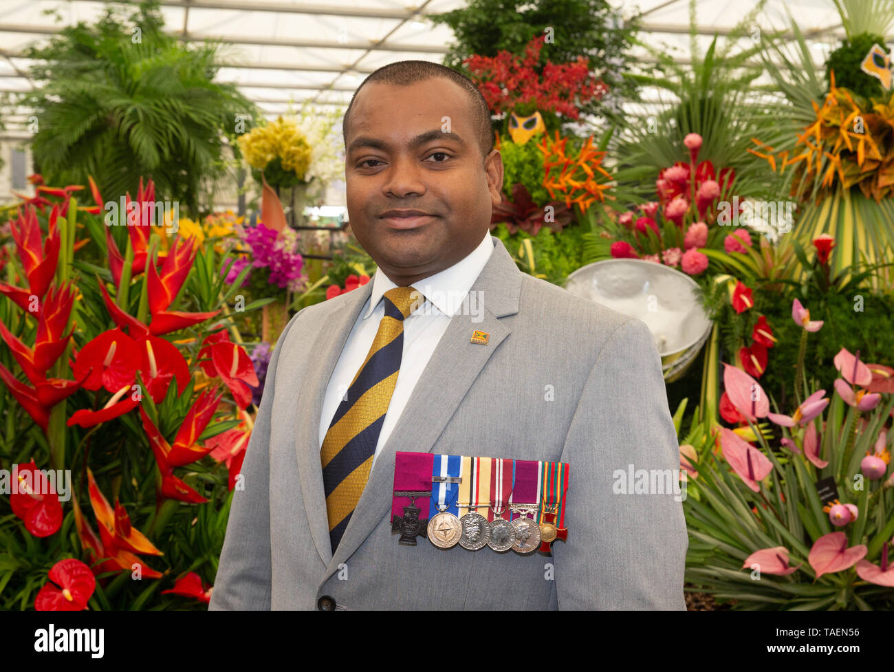 Lance Sergeant Johnson Beharry, VC, British Army soldier who, on 18 March 2005, was awarded the Victoria Cross at the Chelsea Flower Show. - Stock Image