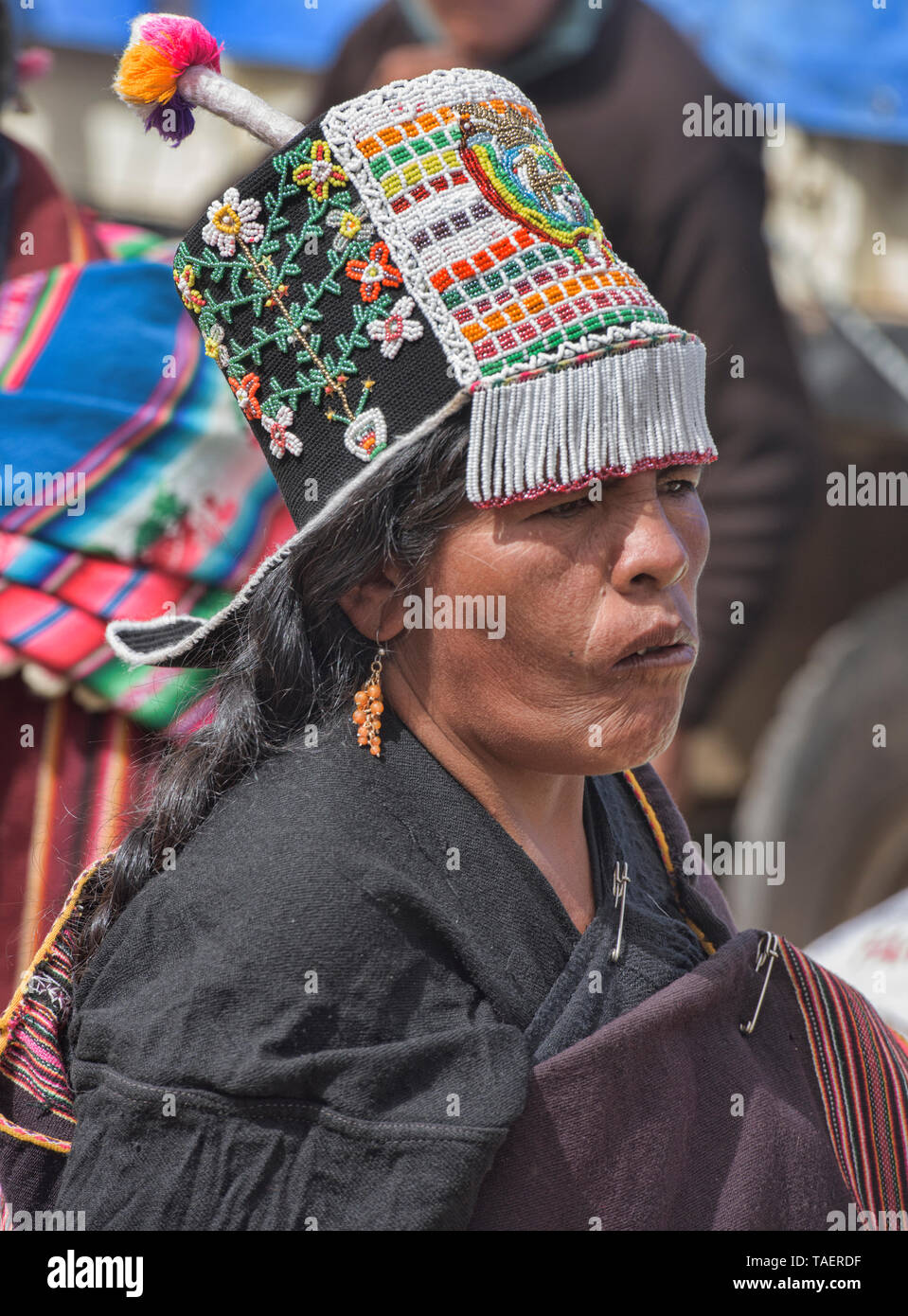 Traditional Yampara woman with Jalq'a woven hat, Tarabuco, Bolivia - Stock Image